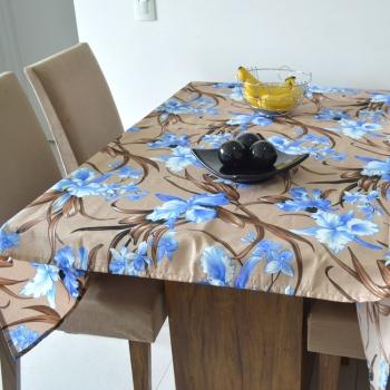 Toalha de Mesa Wendy Plantas Azul/Bege
