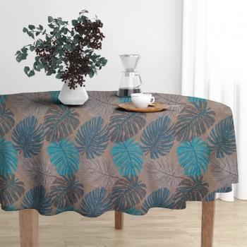 Toalha de Mesa Wendy Redonda Ø140cm Marrom Flor Azul