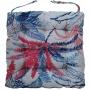 Almofada Para Cadeira Futton Wendy 40x40cm Folhas Azul Vermelho