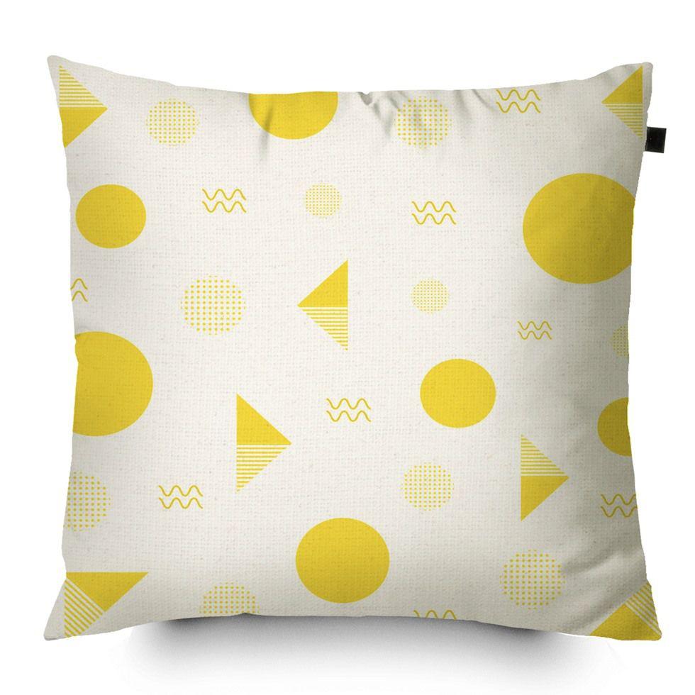 Almofada Algodão Estampada Desenhos 40x40cm Amarelo