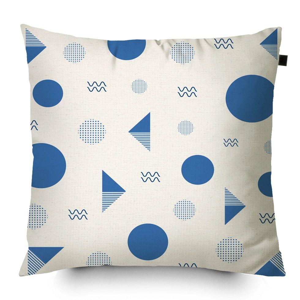 Almofada Algodão Estampada Desenhos 40x40cm Azul