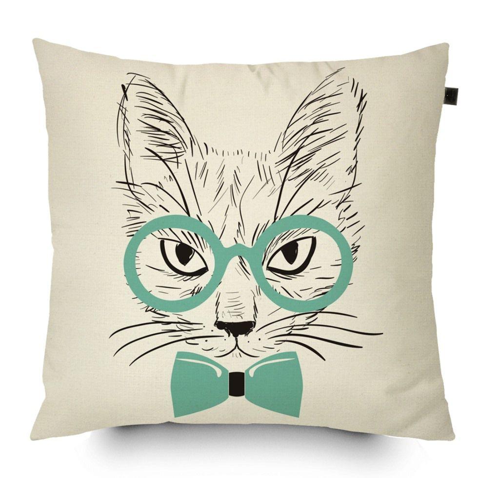 Almofada Algodão Gato de Óculos 40x40cm Tiffany