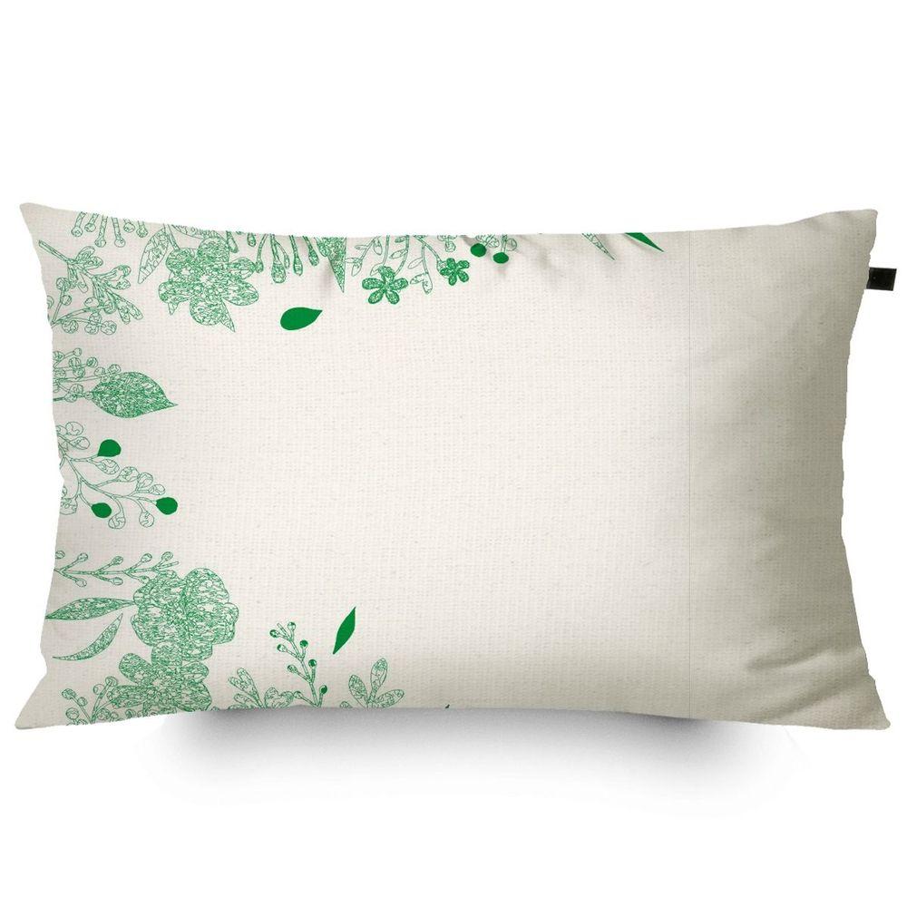Almofada Algodão Retangular Estampada Tropical 30x50cm Verde - c/ Enchimento