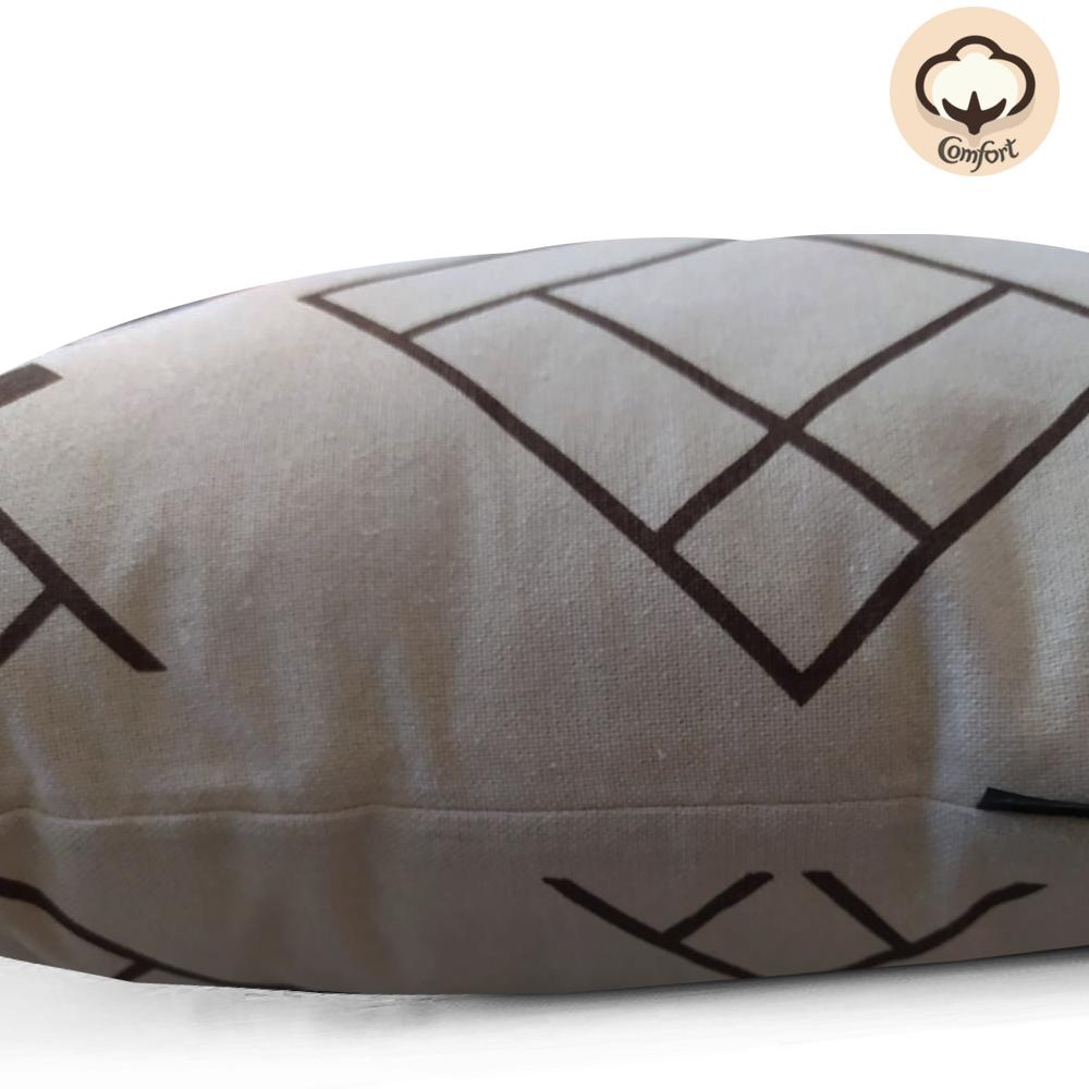 Almofada Bege Cubos 50x50cm Marrom