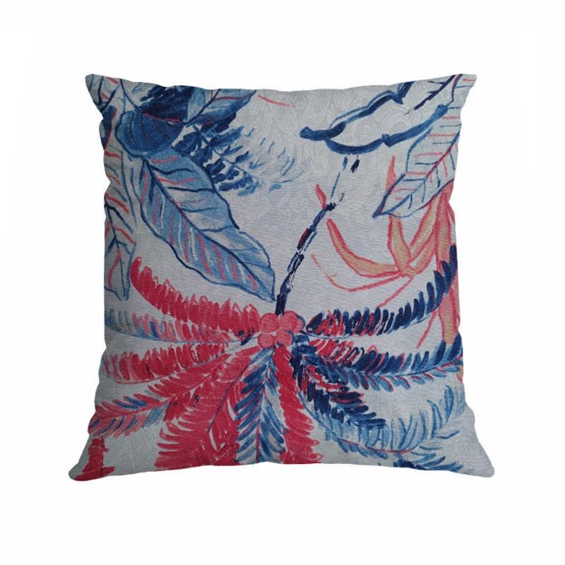 Almofada Estampada Wendy 40x40cm Flores Azul Vermelho