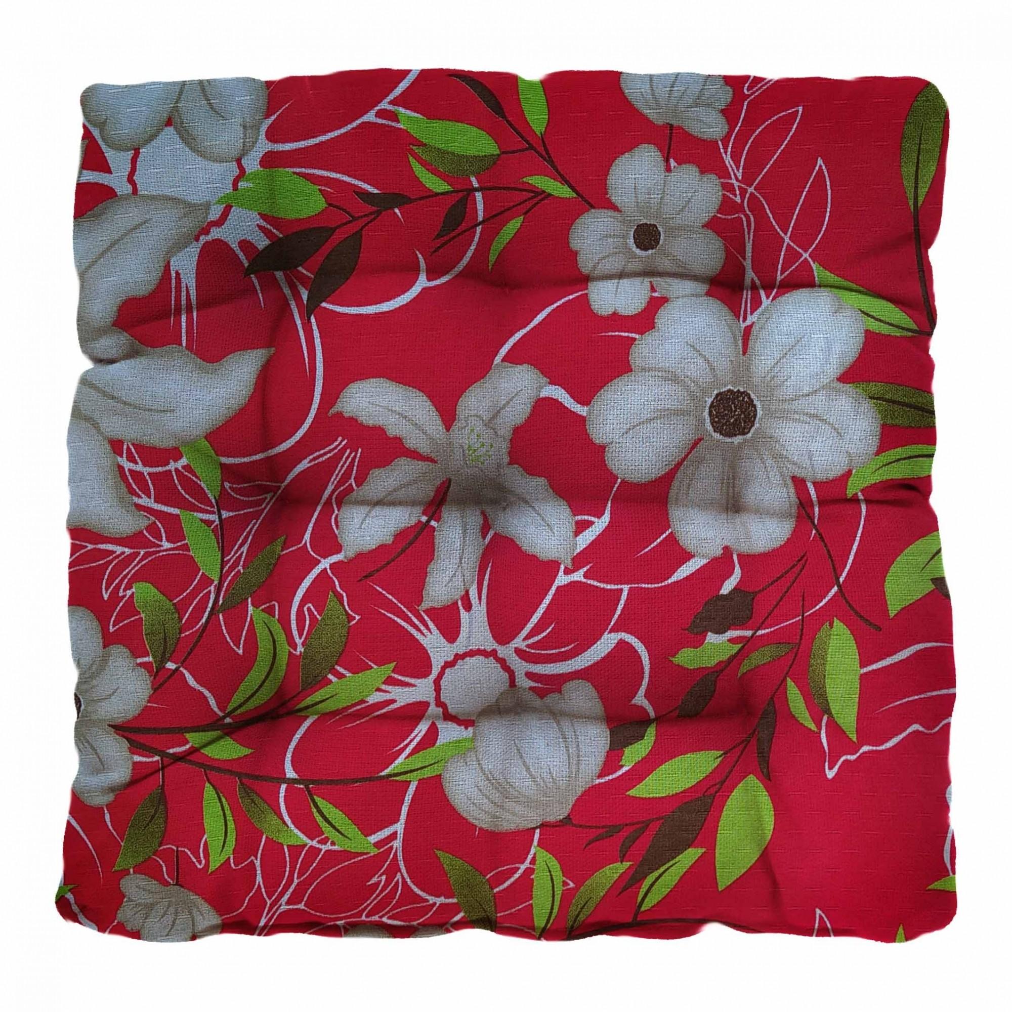 Almofada Futton Firenze 42x42cm Floral Vermelha