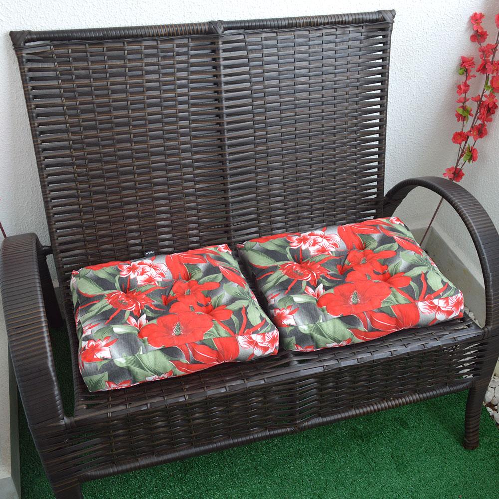 Almofada Futton Firenze 42x42cm Floral Vermelha e Verde