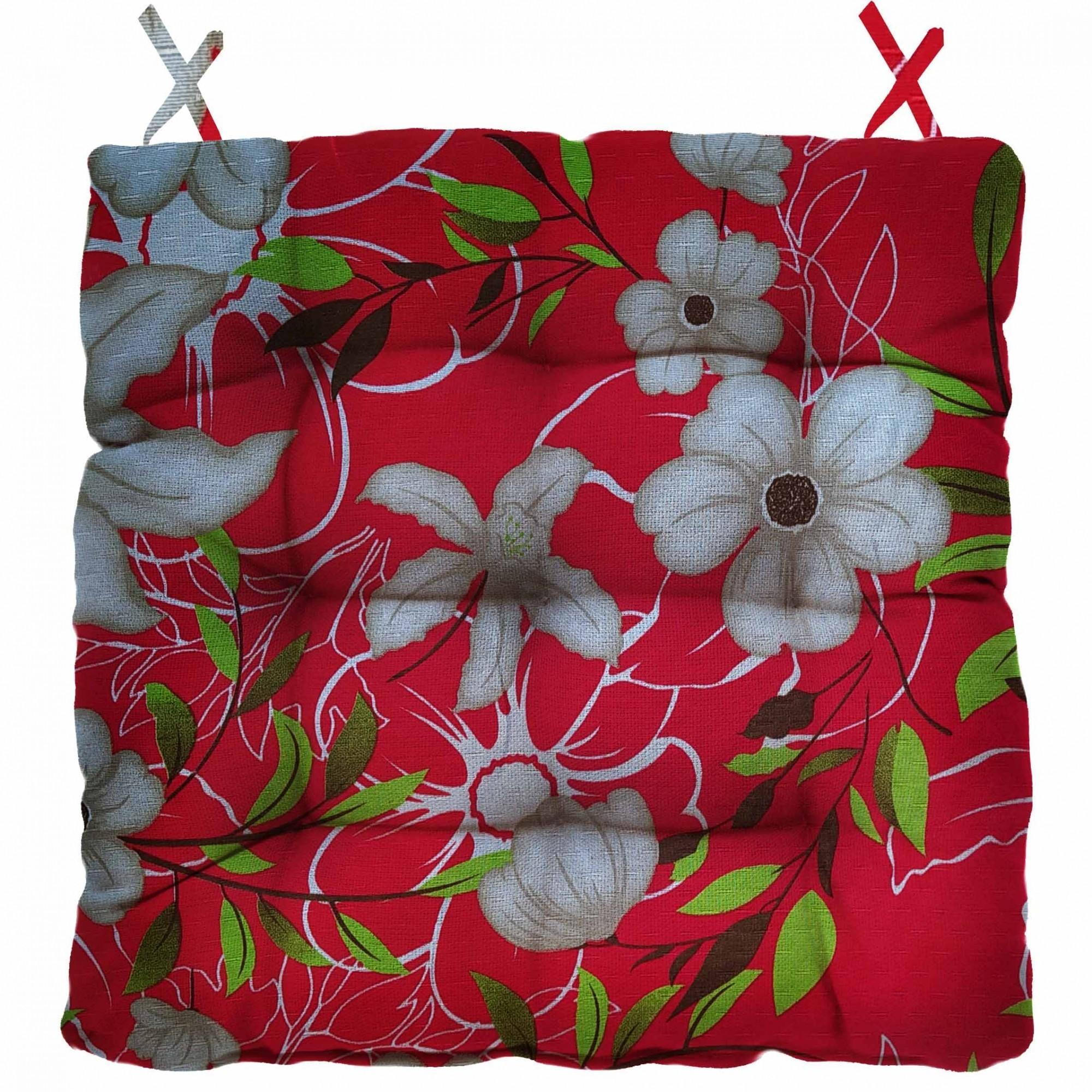 Almofada Para Cadeira Futton Firenze 40x40cm Floral Vermelho