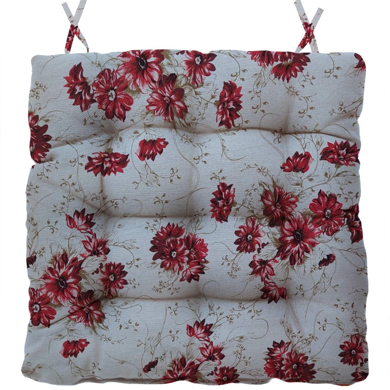 Almofada Para Cadeira Futton Firenze 40x40cm Flores Vermelha