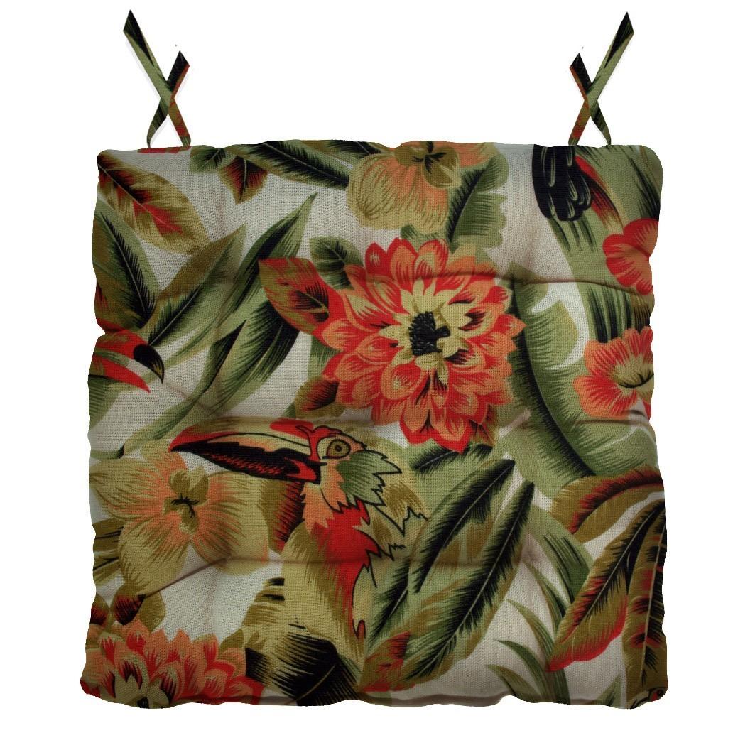 Almofada Para Cadeira Futton Ox Tropical 40x40cm - Verde/Bege