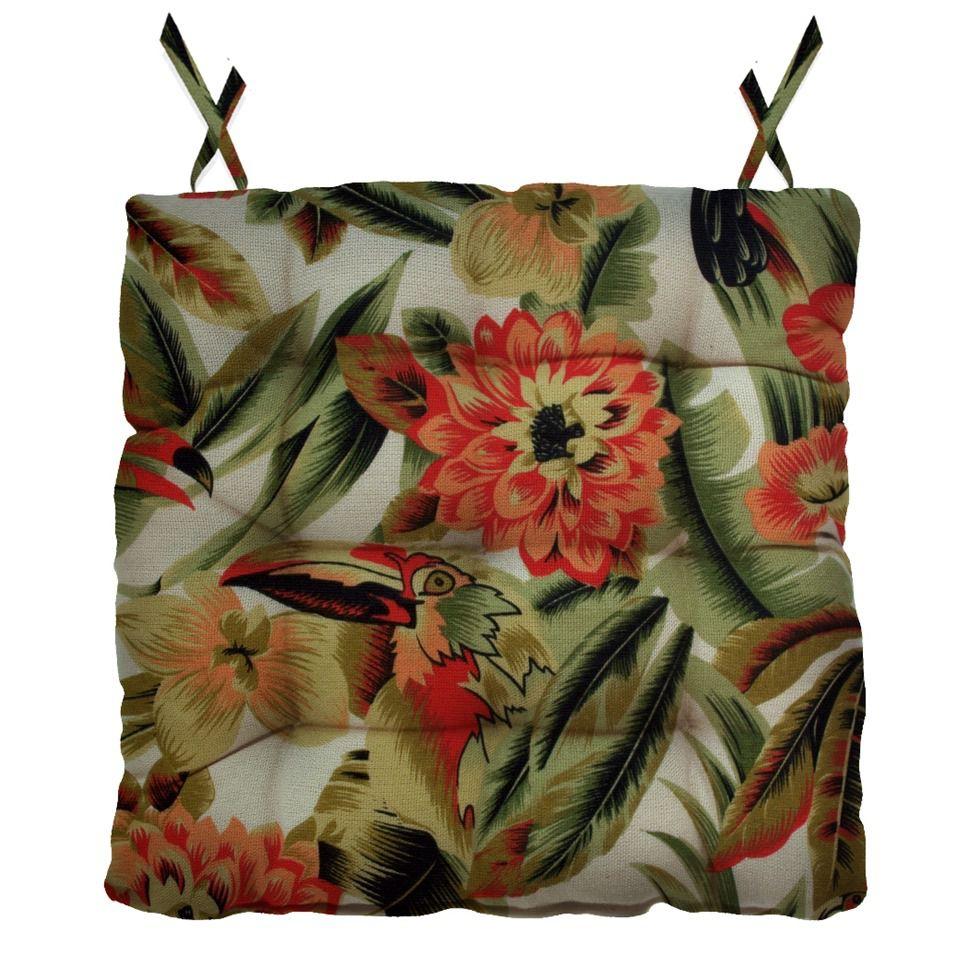 Almofada Para Cadeira Futton Ox Tropical 40x40cm - Verde escuro