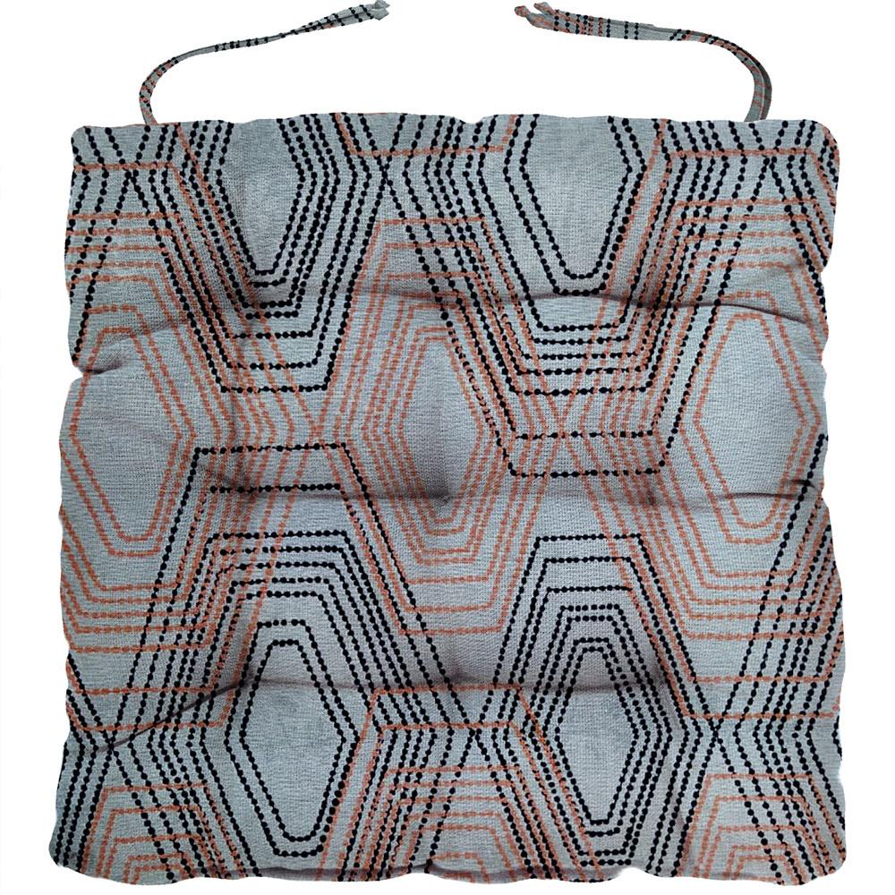 Almofada Para Cadeira Futton Wendy 40x40cm Geométrico Laranja