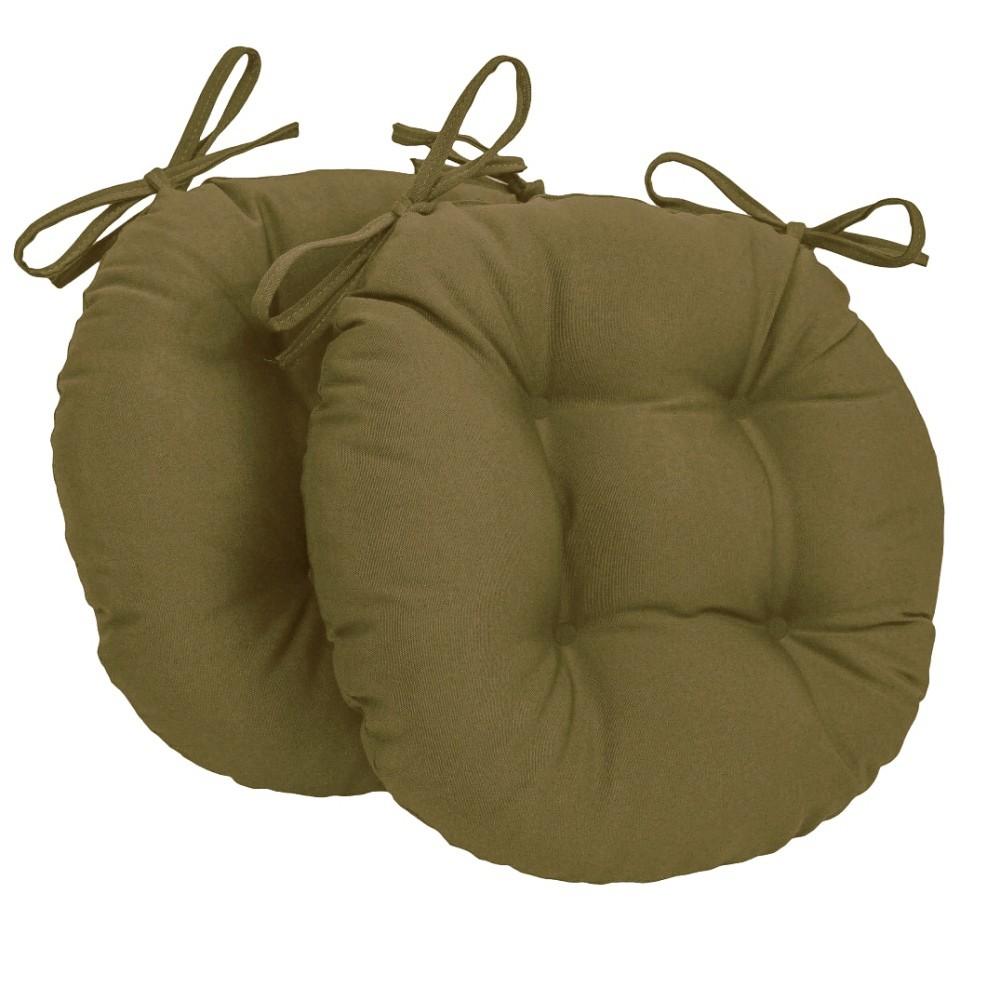 Almofada Para Cadeira Redondo Ø40cm - 2pçs Caqui