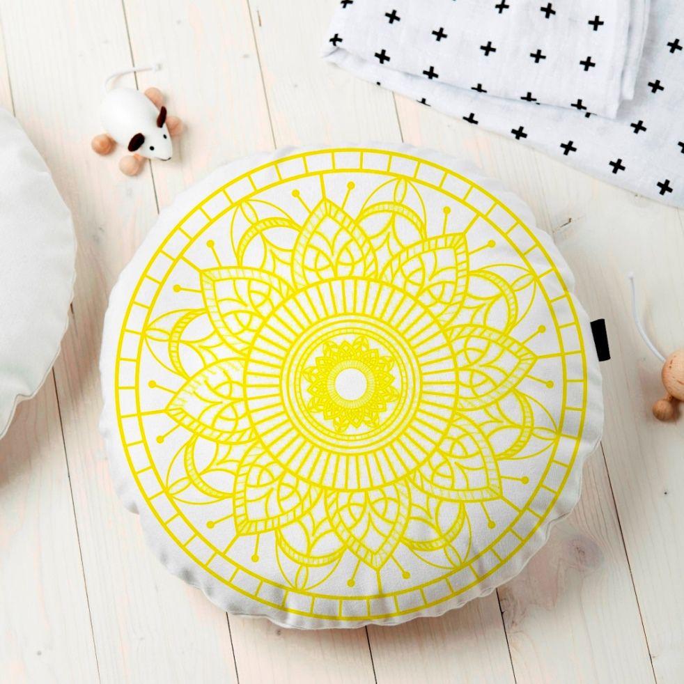 Almofada Redonda Estampada Mandala 45x45cm Durga Amarelo