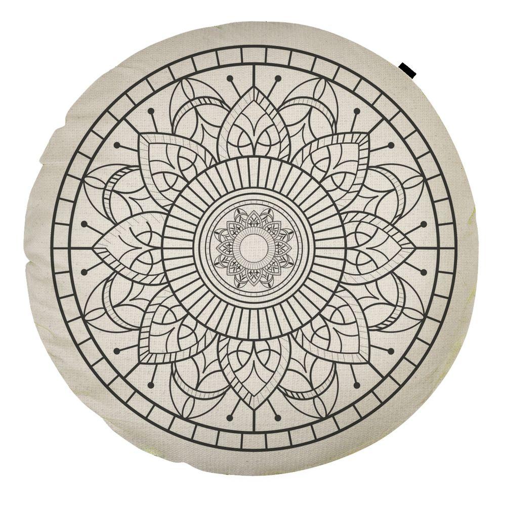 Almofada Redonda Estampada Mandala 45x45cm Durga Preto