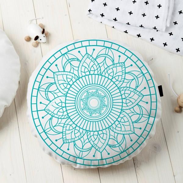 Almofada Redonda Estampada Mandala 45x45cm Durga Tiffany