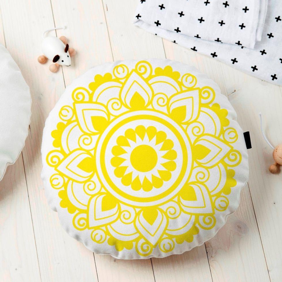 Almofada Redonda Estampada Mandala 45x45cm Obery Amarelo