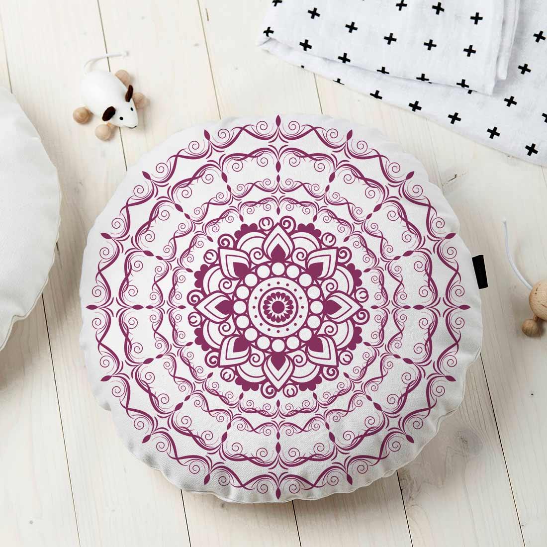 Almofada Redonda Estampada Mandala 45x45cm Provence Uva