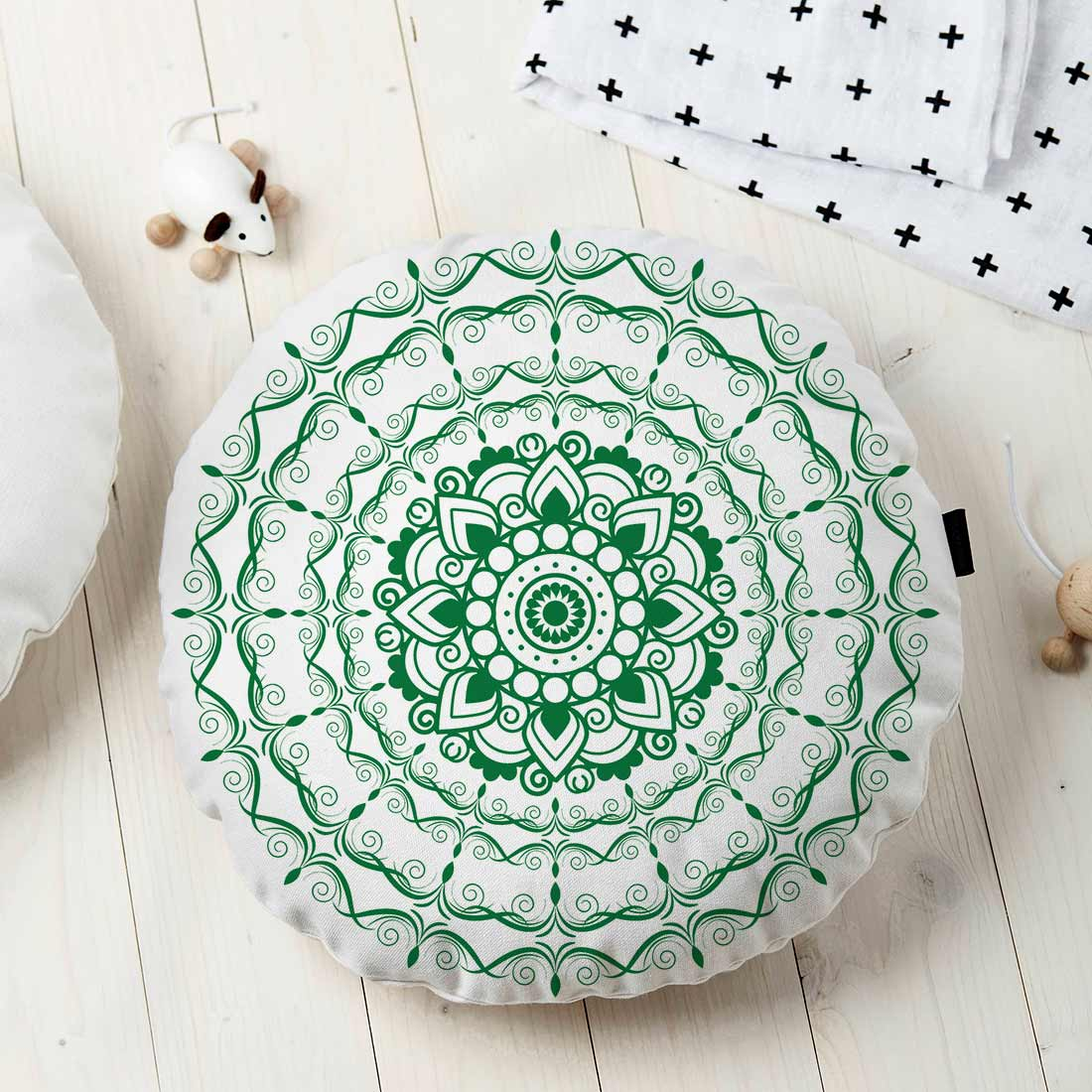 Almofada Redonda Estampada Mandala 45x45cm Provence Verde