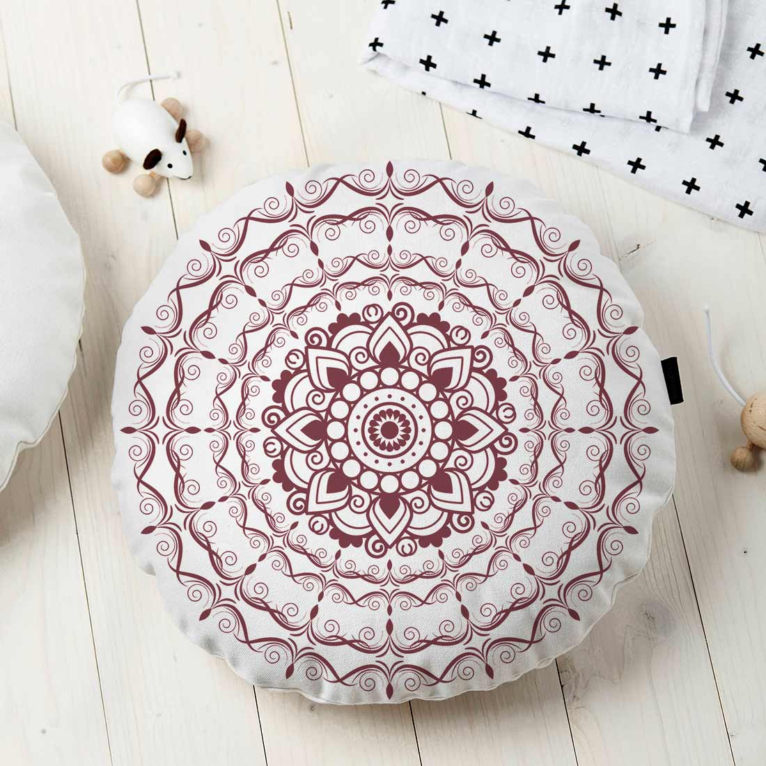 Almofada Redonda Estampada Mandala 45x45cm Provence Vinho