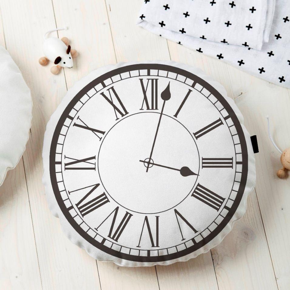 Almofada Redonda Estampada Relógio 45x45cm Preta