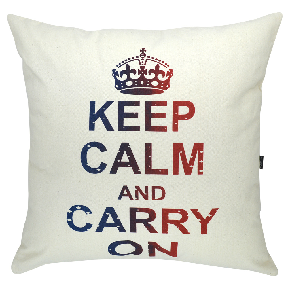 Almofada Serigrafada 50x50 cm Keep Calm and Carry On c/ Enchimento