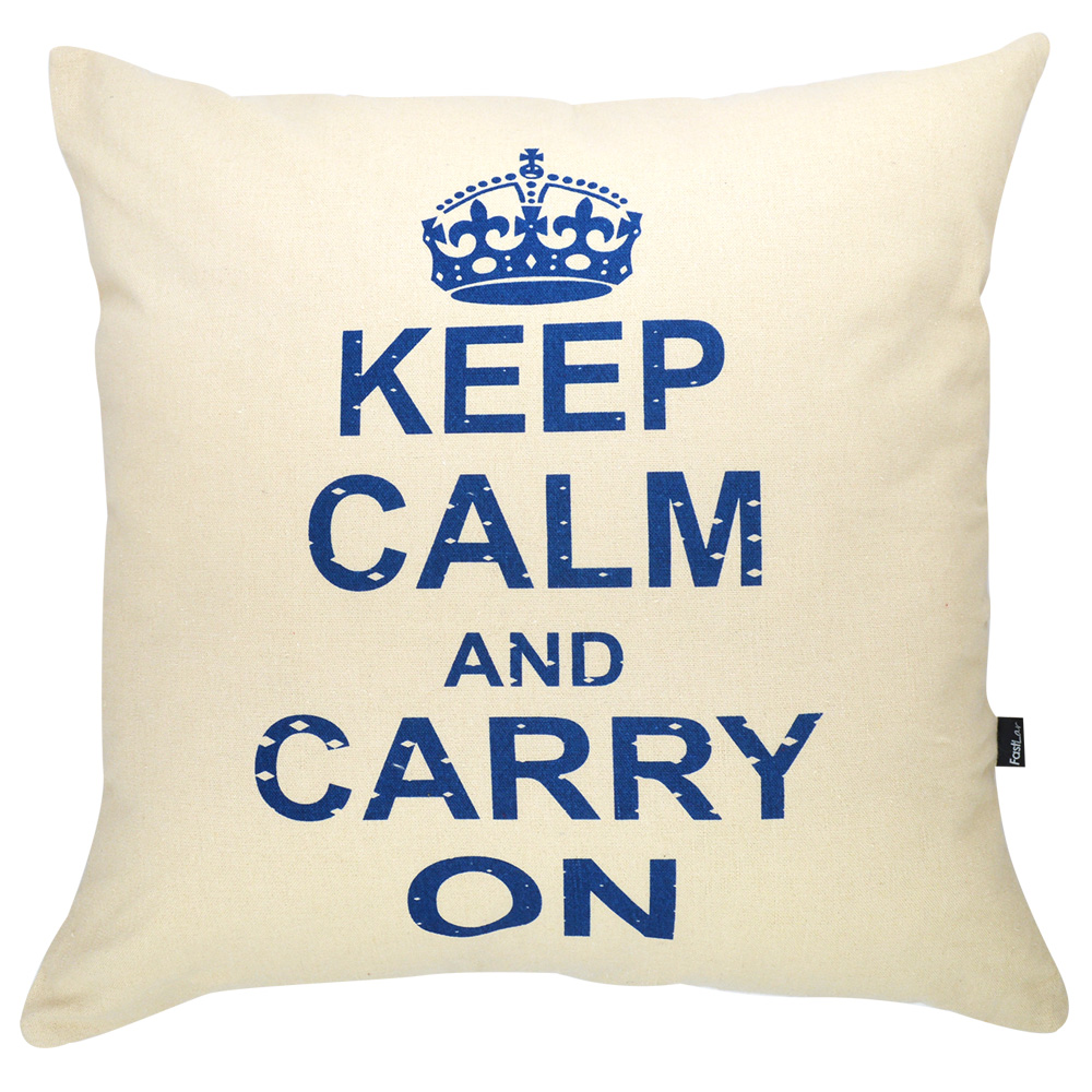 Almofada Serigrafada 50x50cm Keep Calm and Carry On c/ Enchimento