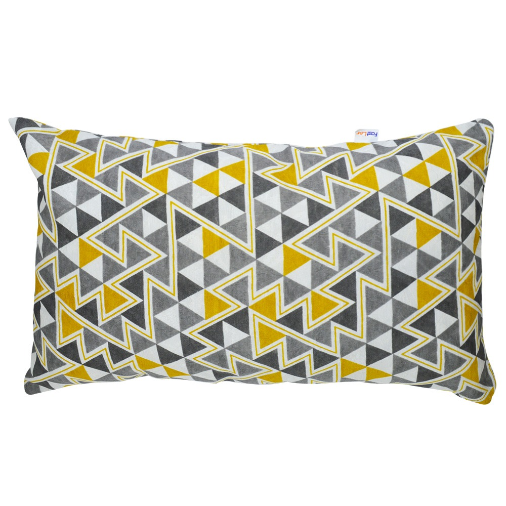 Almofada Wendy Retangular 30x50cm Triângulo Amarelo c/ Enchimento