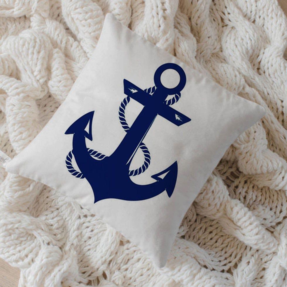 Capa de Almofada Algodão Âncora 40x40cm Azul