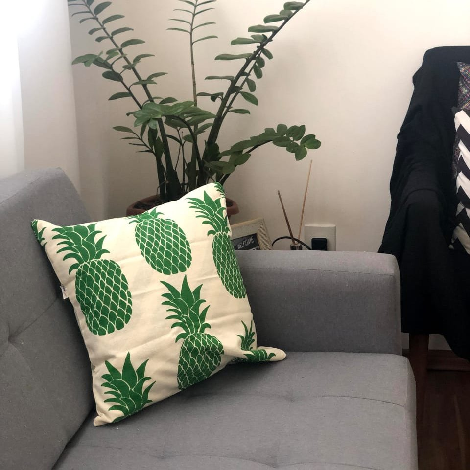 Capa de Almofada Algodão Estampada Abacaxi 40x40cm Verde