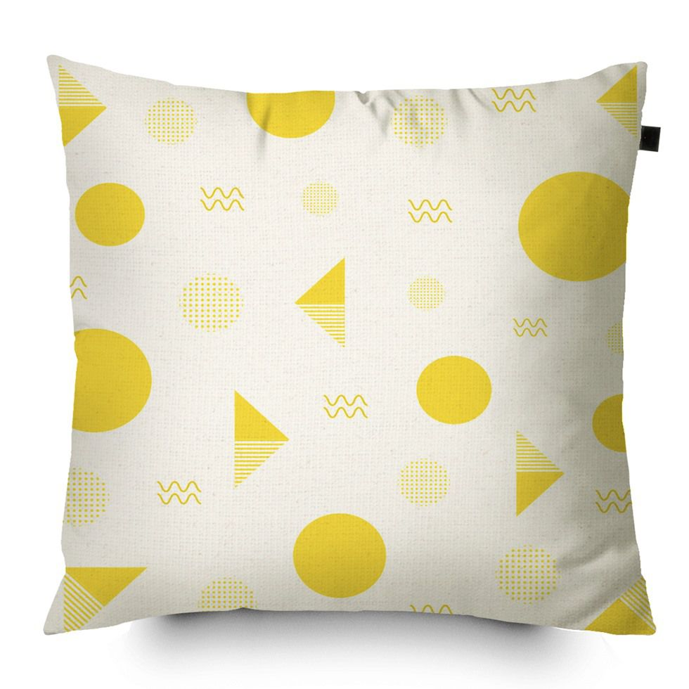Capa de Almofada Algodão Estampada Desenhos 40x40cm Amarelo
