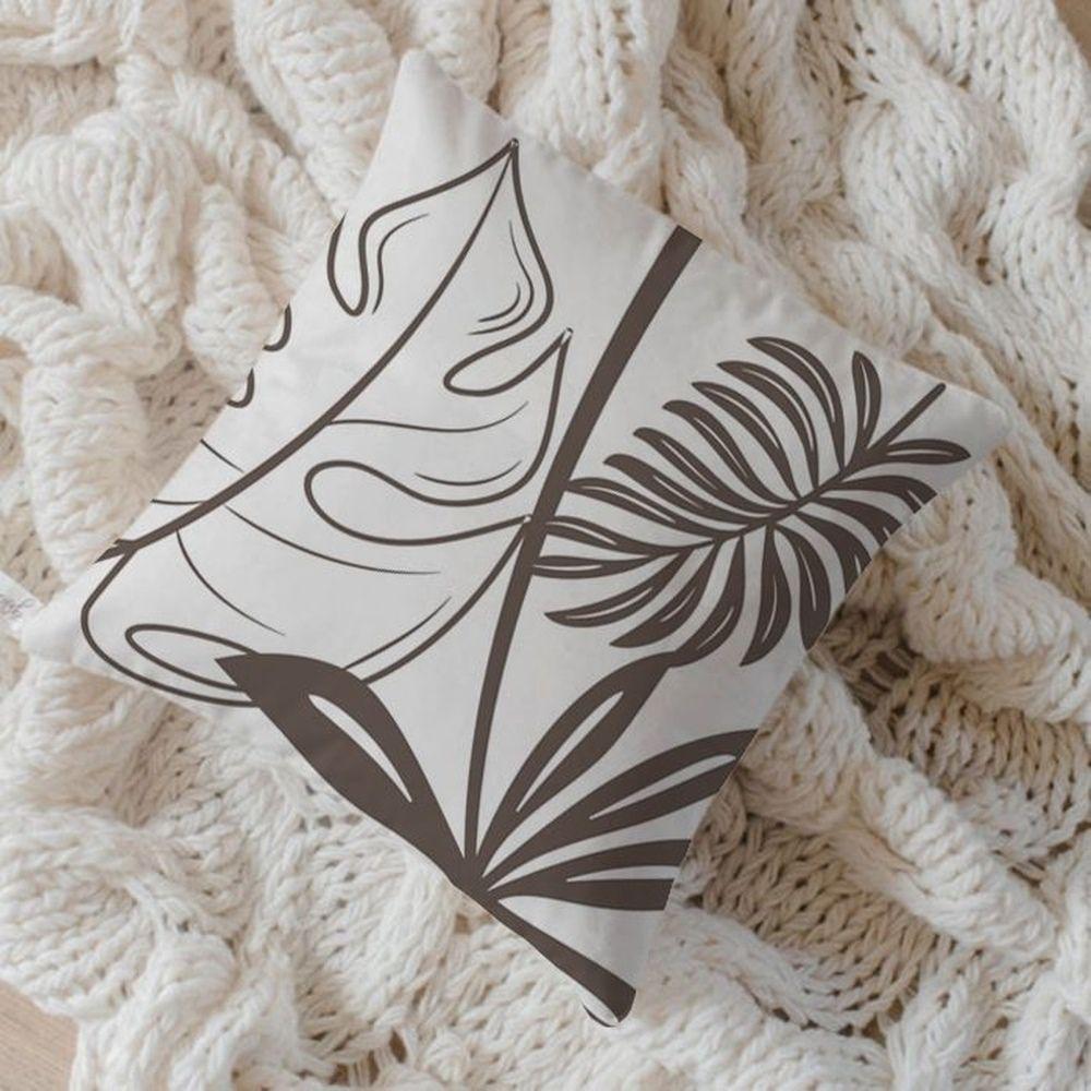 Capa de Almofada Algodão Estampada Folhas 40x40cm Tabaco