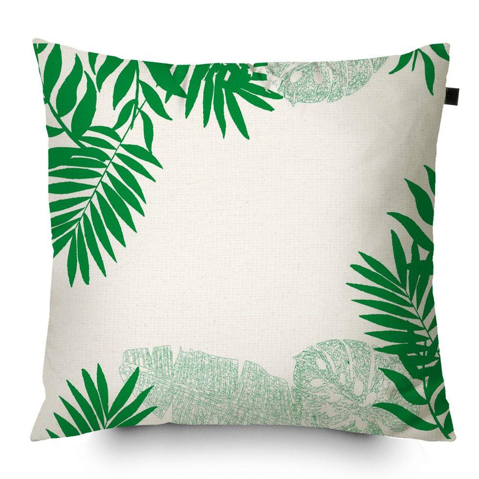 Capa de Almofada Algodão Estampada Tropical 40x40cm Verde