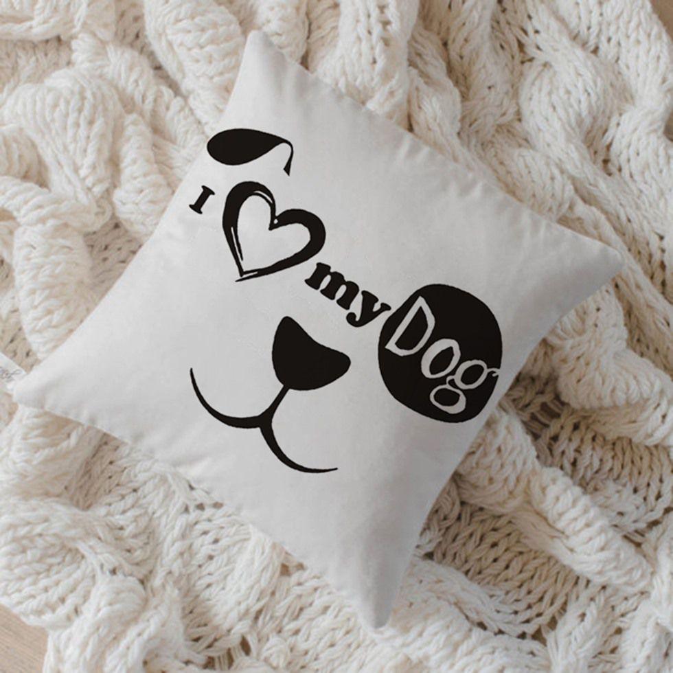 Capa de Almofada Algodão I Love My Dog 40x40cm Preto