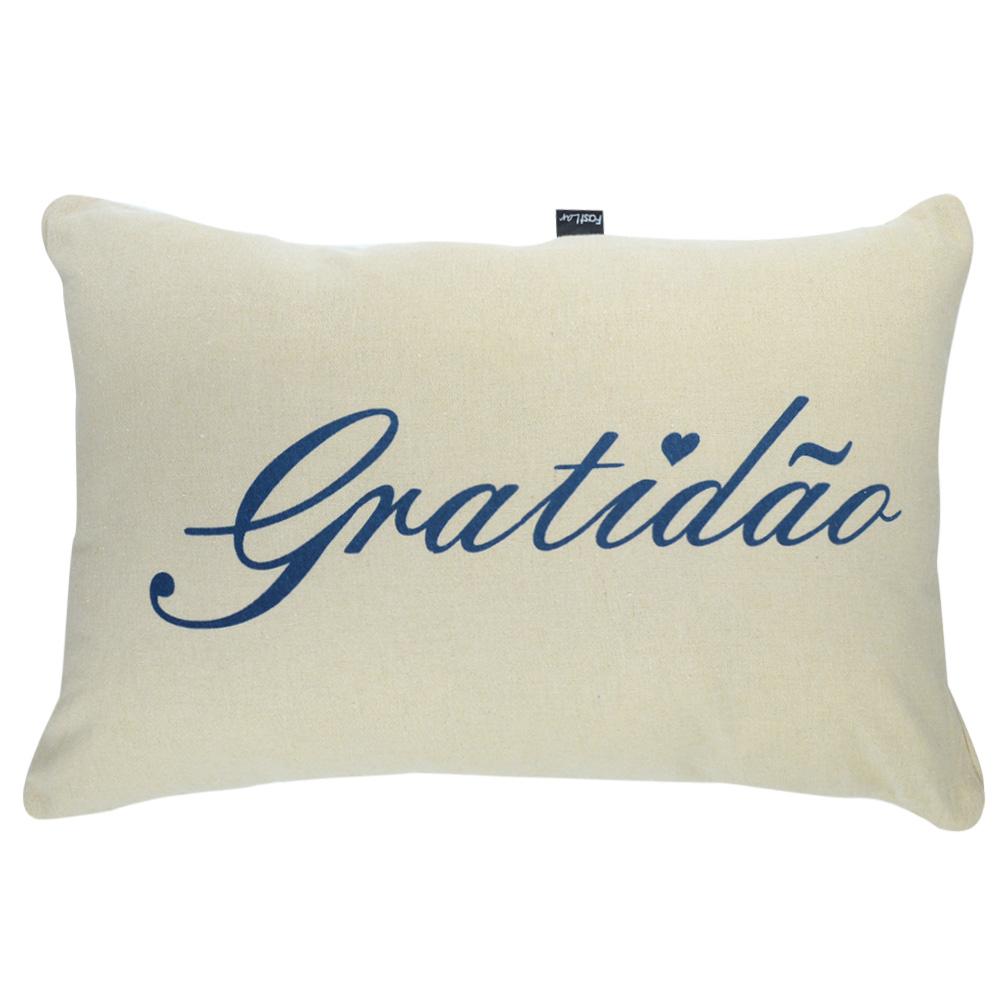 Capa de Almofada Algodão Retangular Serigrafada 30x50cm Gratidão  Azul