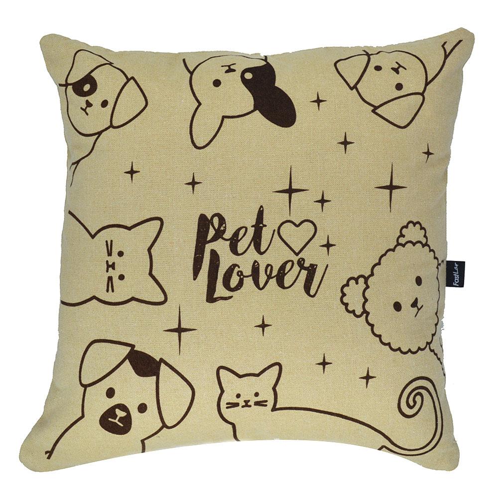 Capa de Almofada Bege Pet Love  40x40cm - Serigrafada Frente e Verso