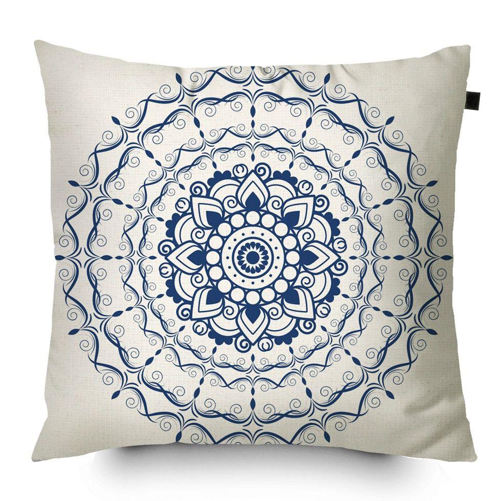 Capa de Almofada Estampada Mandala 40x40cm Provence Azul
