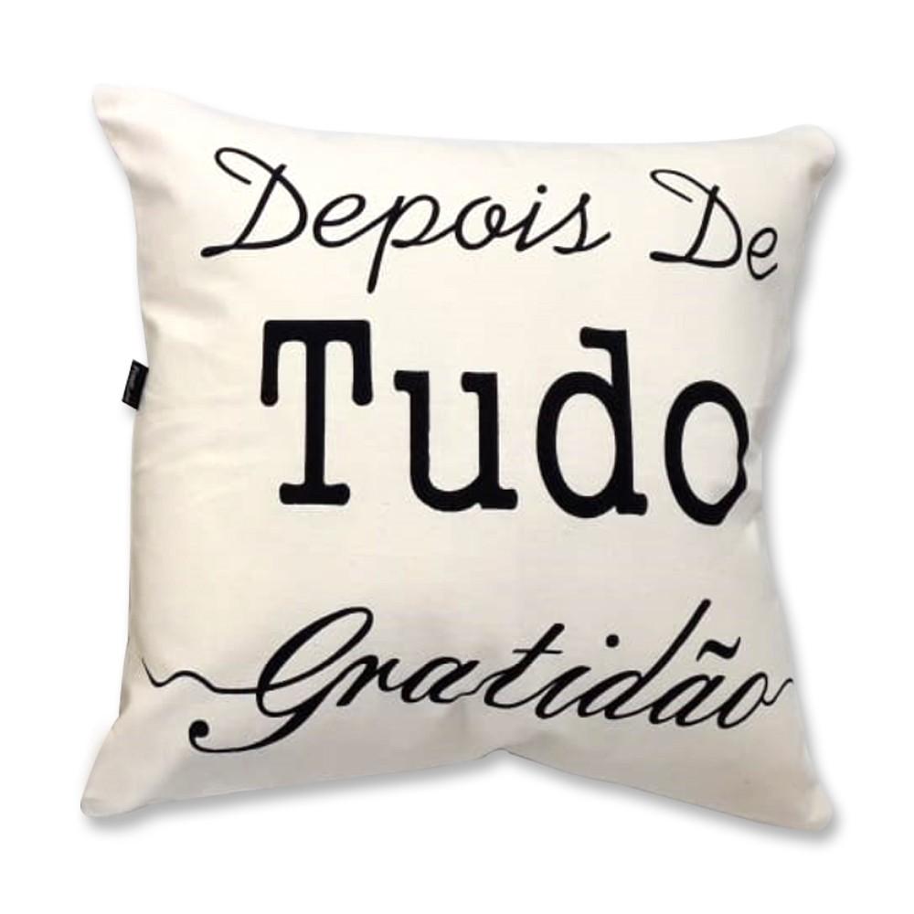 Capa de Almofada Serigrafada - Frente e Verso 40x40cm - Fé e Gratidão