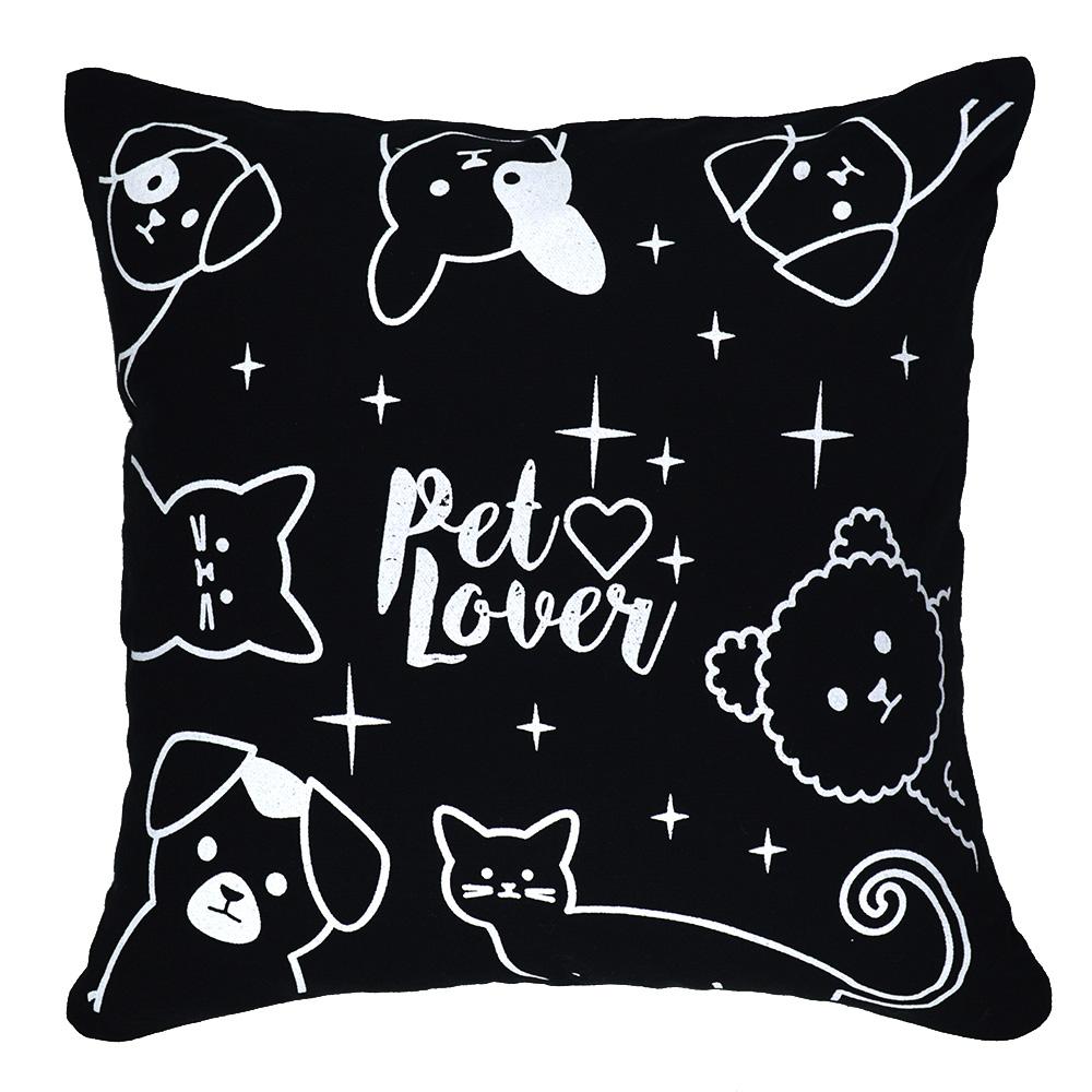Capa de Almofada Preta Pet Love  40x40cm - Serigrafada Frente e Verso