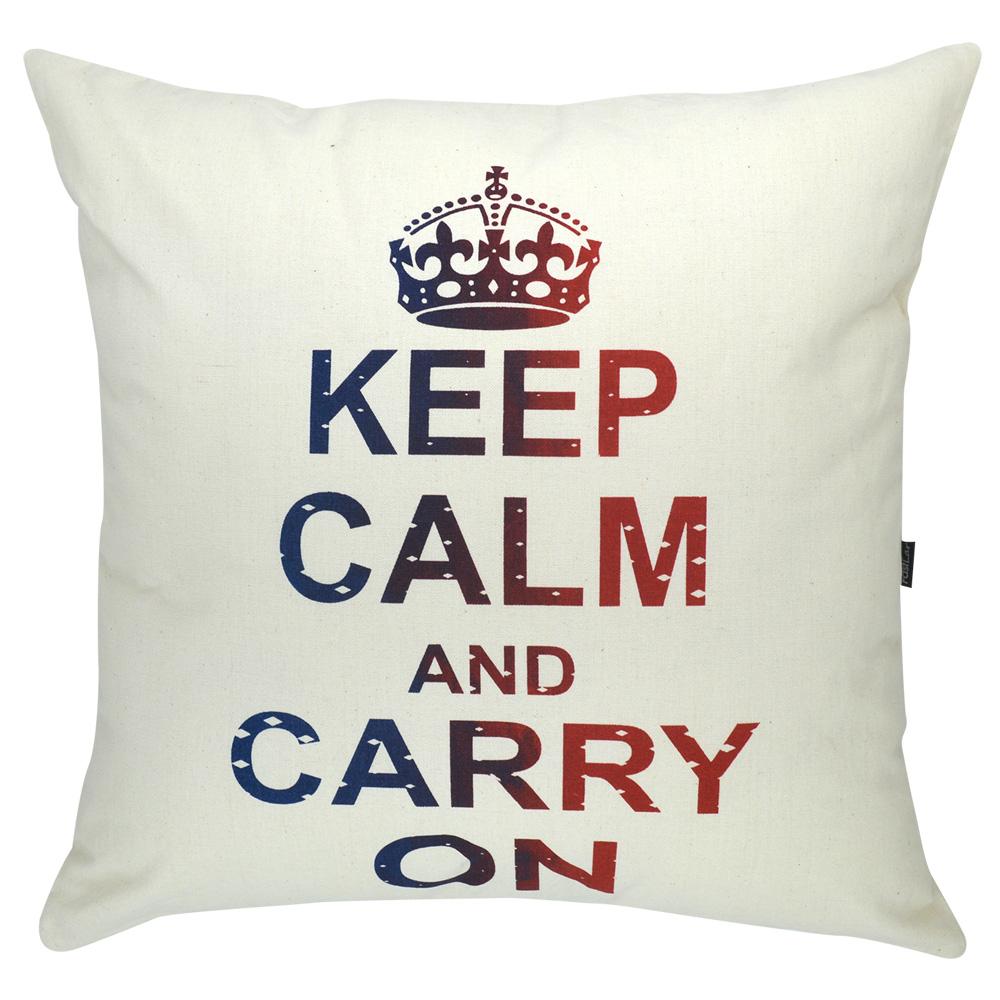 Capa de Almofada Serigrafada 50x50 cm Keep Calm and Carry On