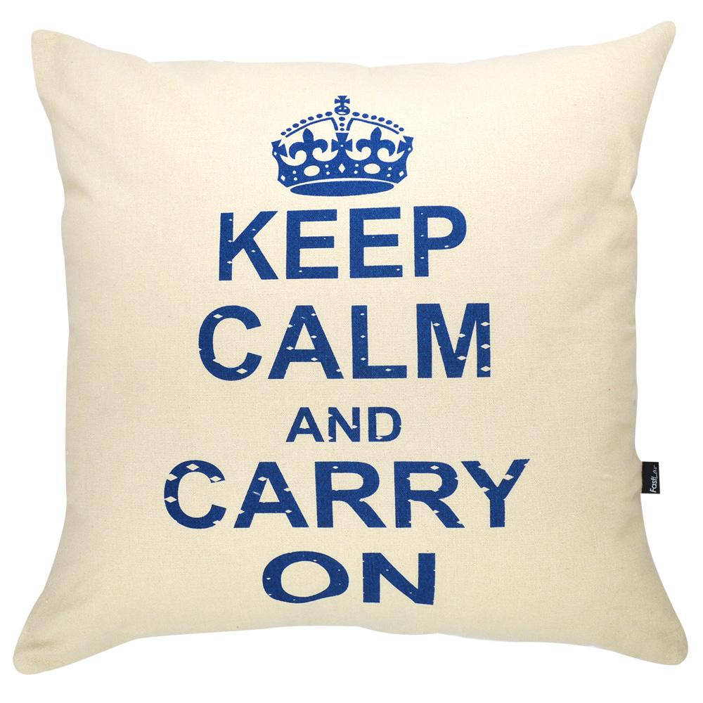 Capa de Almofada Serigrafada 50x50cm Keep Calm and Carry On
