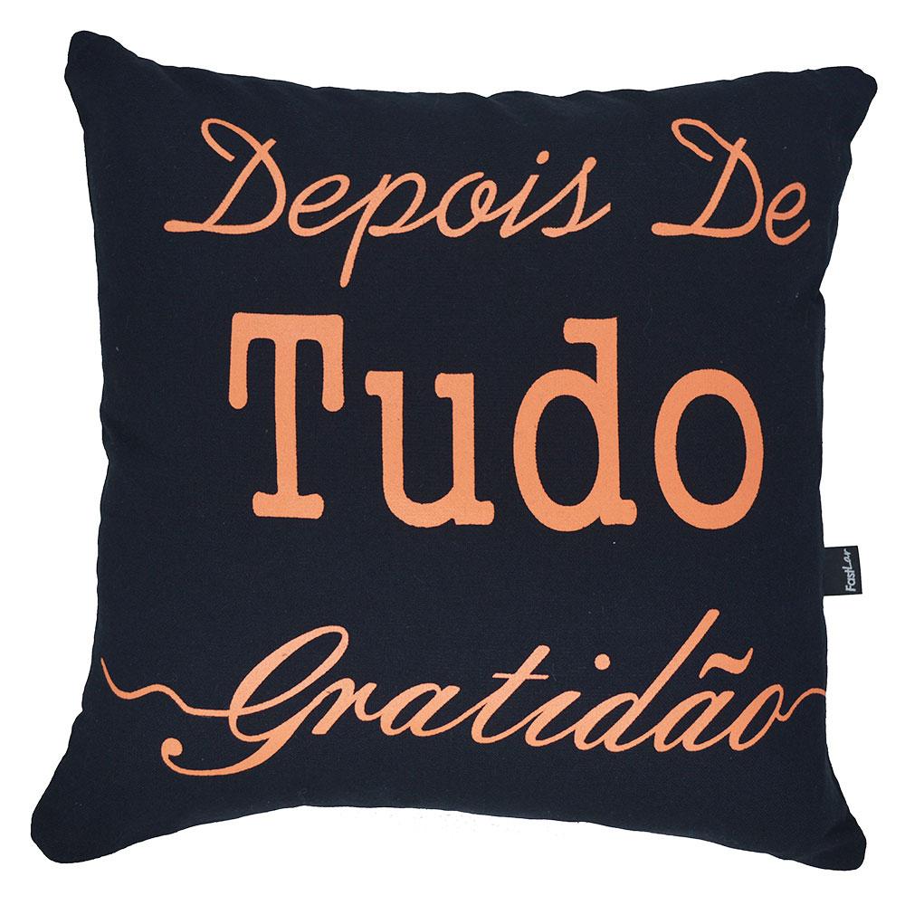 Capa de Almofada Serigrafada Preta - Frente e Verso 40x40cm - Fé e Gratidão