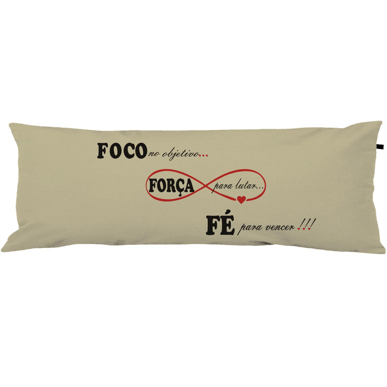 Capa Para Travesseiro De Corpo Body Pillow 40x130cm Foco Força e Fé