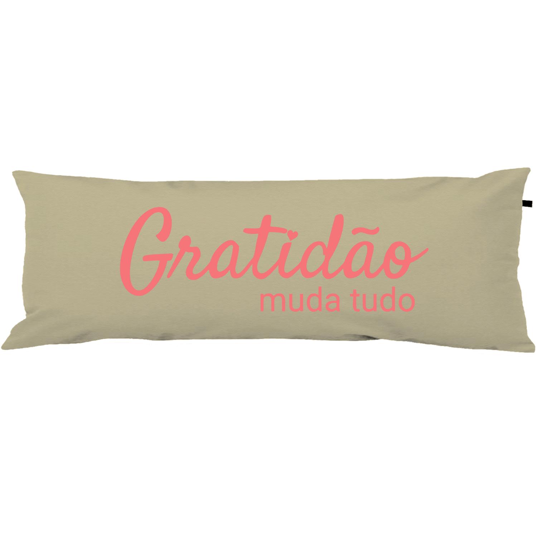 Capa Para Travesseiro De Corpo Body Pillow 40x130cm Gratidão Rosa