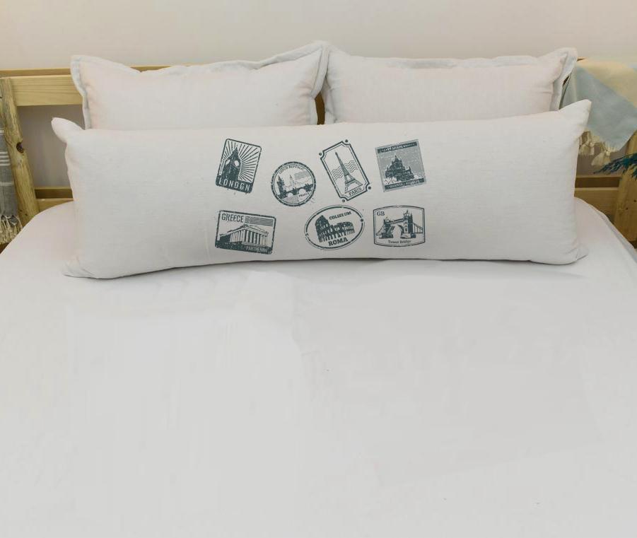 Capa Para Travesseiro De Corpo Body Pillow Em Veludo Estampado 40x130cm Selos