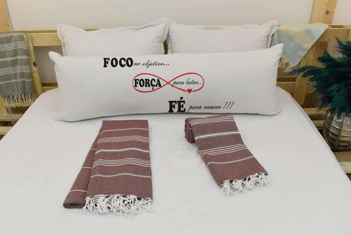 Capa Para Travesseiro De Corpo Body Pillow Natural 40x130cm Foco Força e Fé