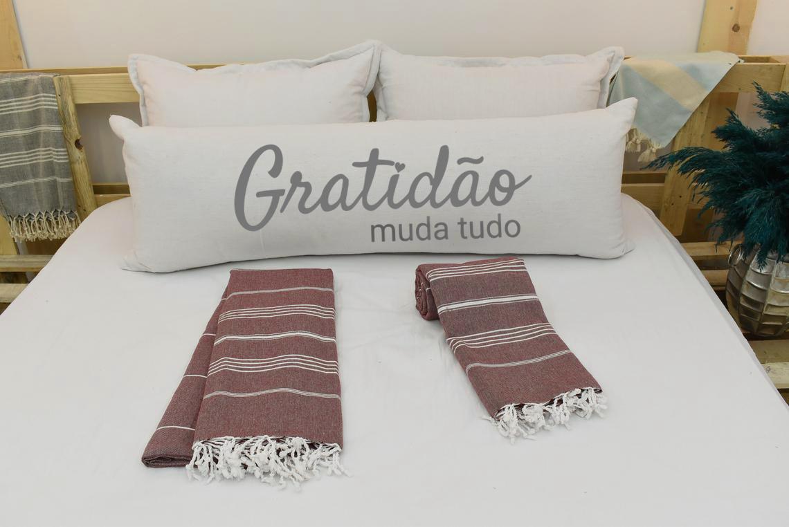 Capa Para Travesseiro De Corpo Body Pillow Natural 40x130cm Gratidão Cinza