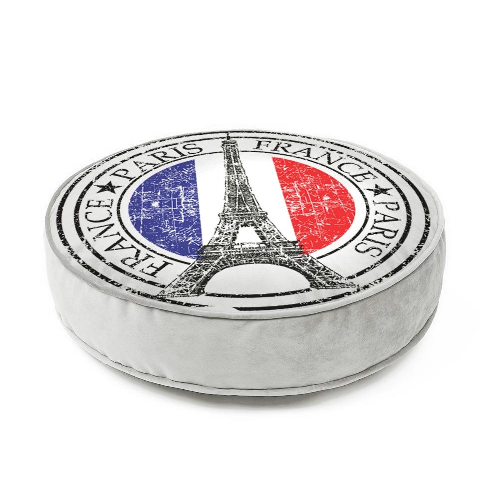 Futton Turco Redondo Veludo Estampado Ø45cm Paris