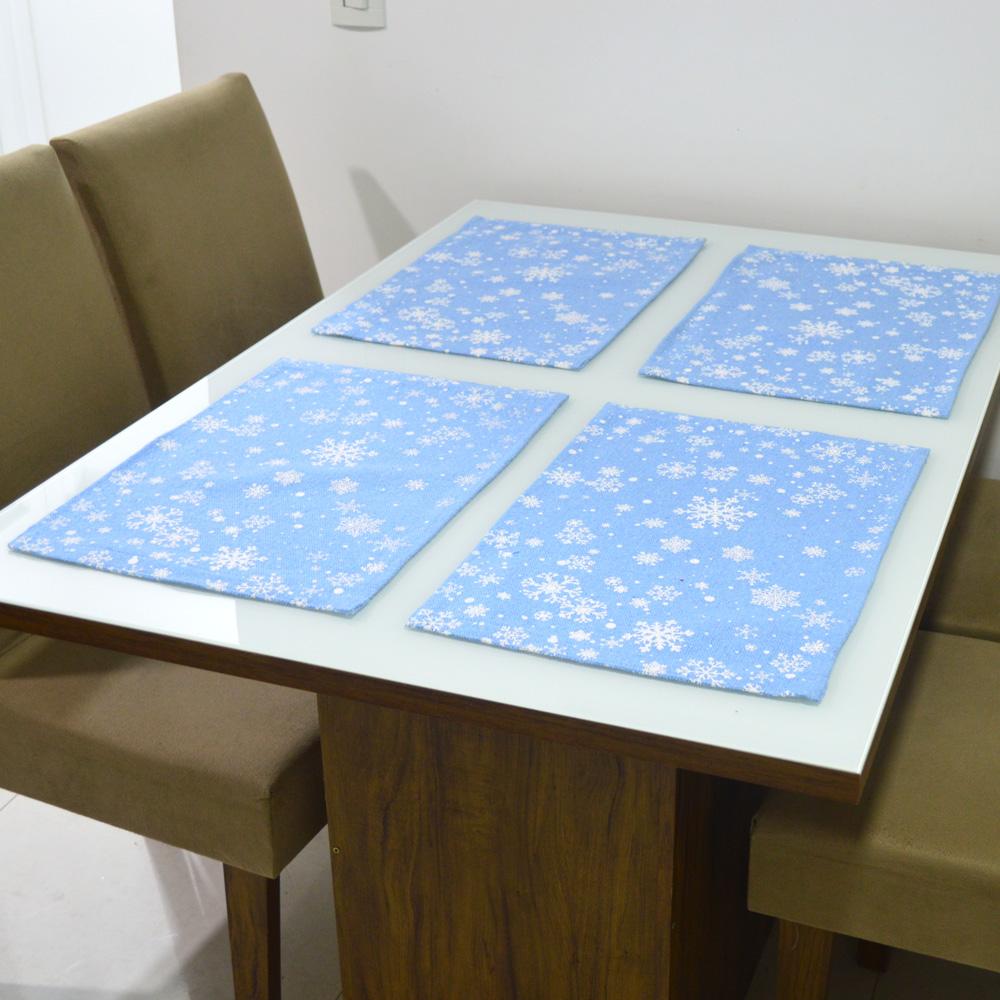 Jogo americano Estampa Azul Claro Neve 33x49cm 4 Peças - Emborrachado