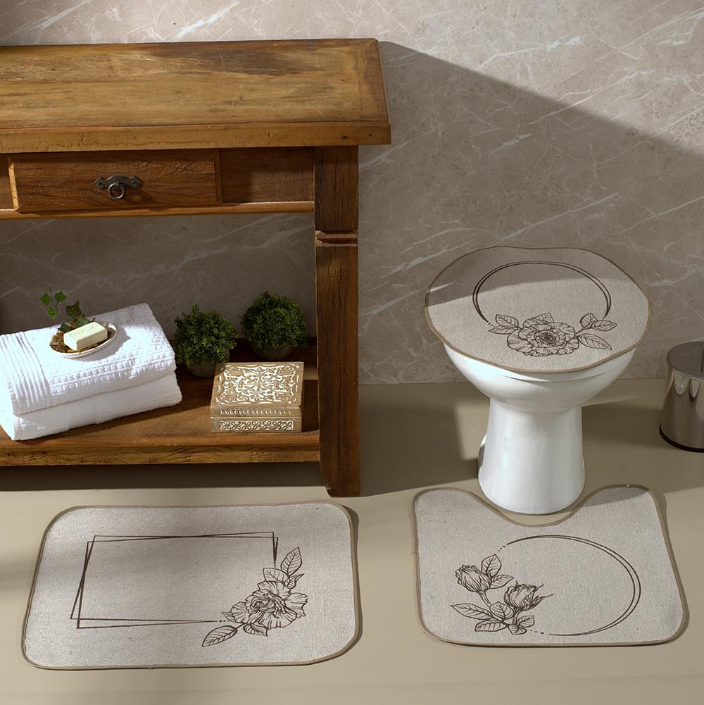 Jogo De Banheiro Areia Flor Marrom  03 Peças - Antiderrapante